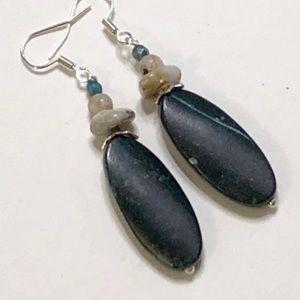Dalmation & Black Jasper Persian Agate Earrings